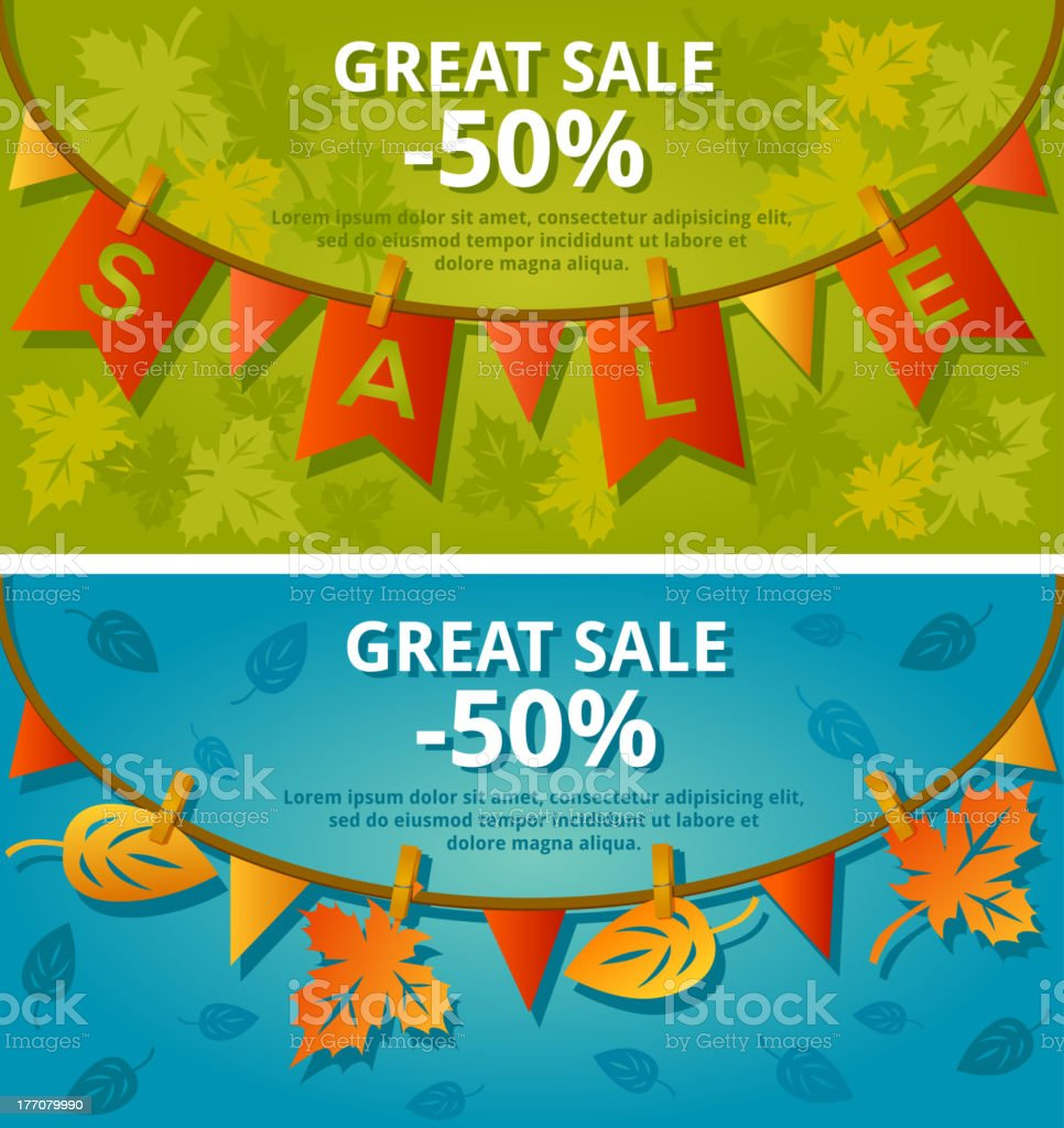 2 colorful sale banners with bunting royalty-free stock vector art