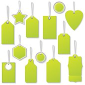 Colourful Sale Or Price Tags With Strings And Shadows springtime green. Shadows are on a separate layer for easier removal. Assorted shapes, each is in it's own group for easier handling.