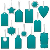 Colourful Sale Or Price Tags With Strings And Shadows in teal. Shadows are on a separate layer for easier removal. Assorted shapes, each is in it's own group for easier handling.