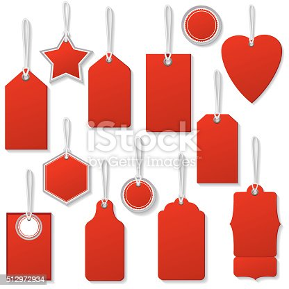 Colourful Sale Or Price Tags With Strings And Shadows in red. Shadows are on a separate layer for easier removal. Assorted shapes, each is in it's own group for easier handling.