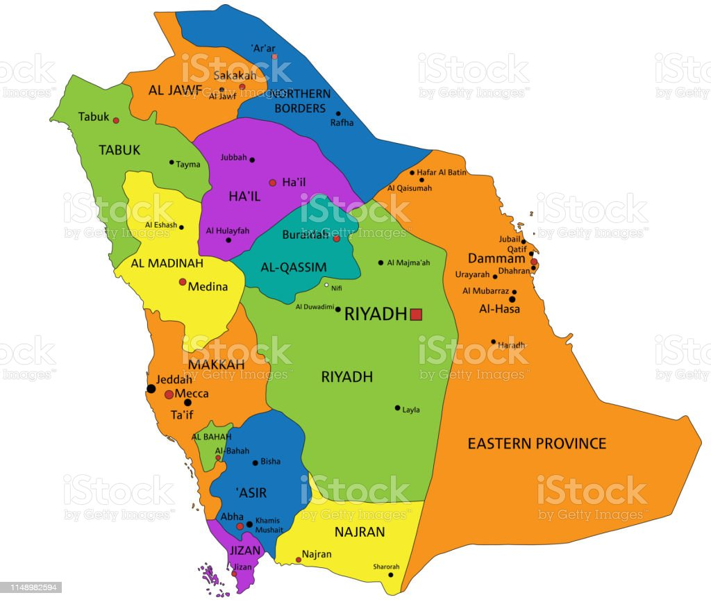Colorful Saudi Arabia Political Map With Clearly Labeled ...