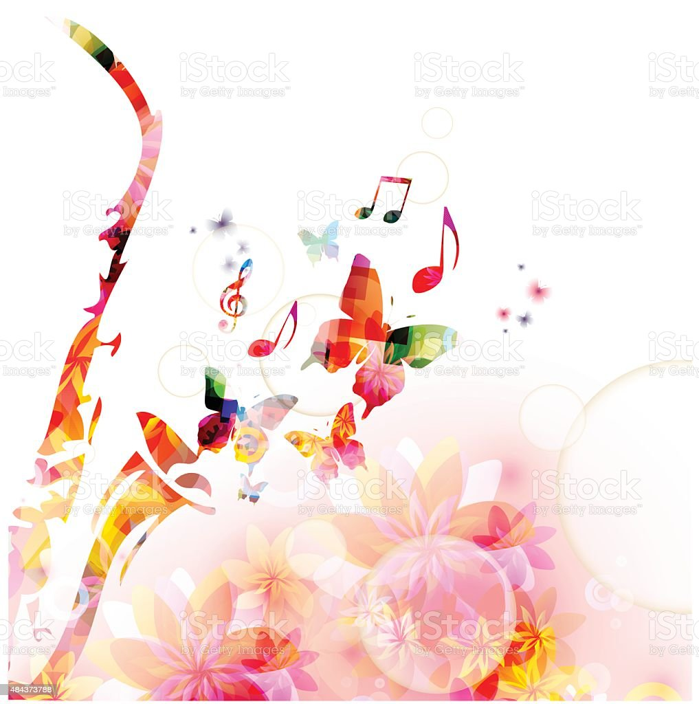colorful saxophone design with butterflies music