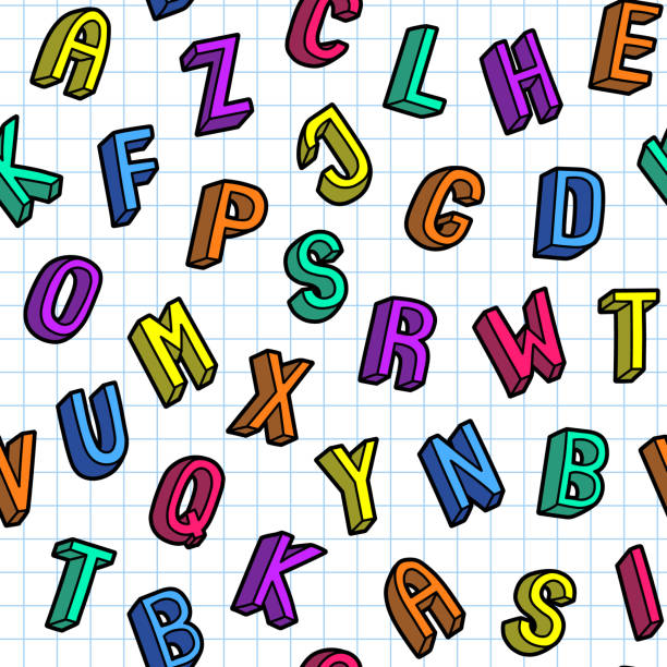 Colorful scattered alphabet letters seamless pattern. School design vector wallpaper. Cartoon doodle style notebook paper sheet background. Colorful scattered alphabet letters seamless pattern. School design vector wallpaper. Cartoon doodle style notebook paper sheet background. alphabet backgrounds stock illustrations