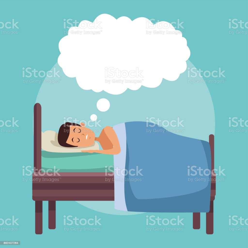 colorful scene man dreaming in bed at night with cloud callout