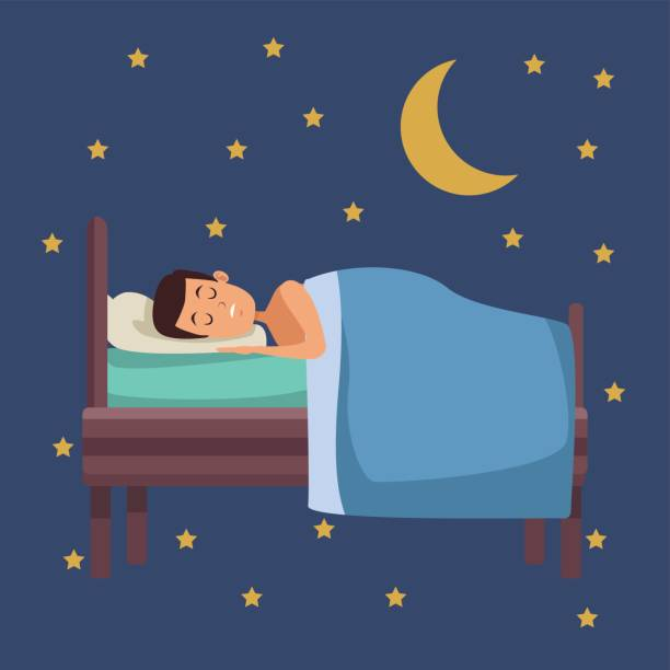 Man Comfortably Sleeping His Bed Night Stock Photo ...   Man Sleeping In Bed At Night