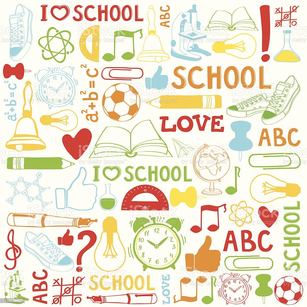 Colorful school and student objects background. royalty-free stock vector art