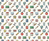 Colorful school pattern icons - illustrations