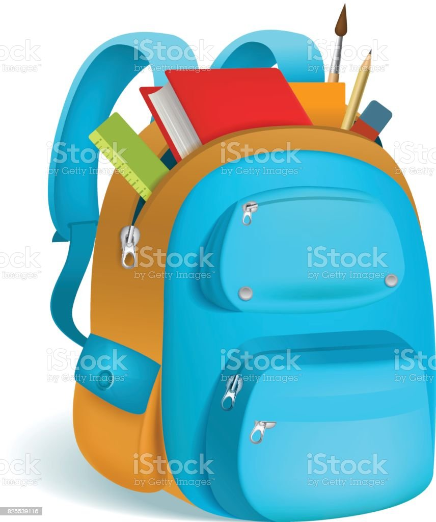 Colorful schoolbag with school supplies. 3d backpack with zippers isolated on white background. Vector illustration. Eps 10. векторная иллюстрация