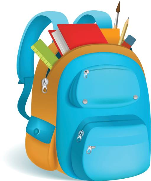Bекторная иллюстрация Colorful schoolbag with school supplies. 3d backpack with zippers isolated on white background. Vector illustration. Eps 10.