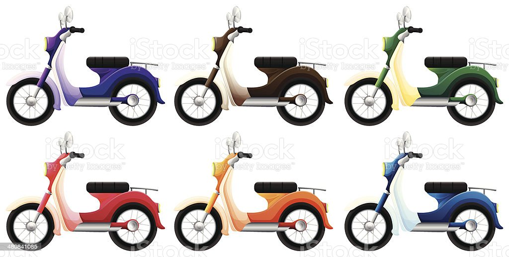 Colorful scooters royalty-free stock vector art