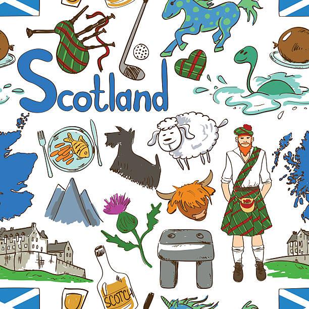 colorful scotland seamless pattern. - haggis stock illustrations, clip art, cartoons, & icons