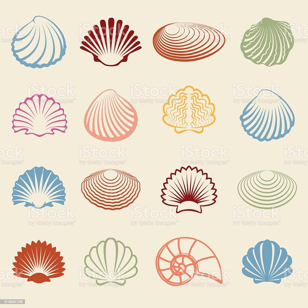 Colorful sea shells silhouettes set vector art illustration