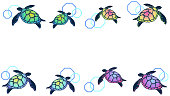 Frame illustration with colorful sea turtles lined up.