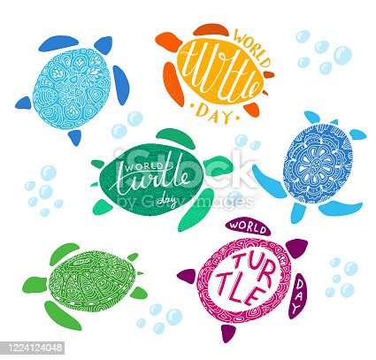 Cute colorful sea turtles with lettering isolated on white background. Doodle style stickers collection with swimming marine animals. World turtle day.