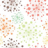Colorful seamless decorative pattern with abstract flowers. Hand-drawn template texture, doodles. Seamless light floral dandelion background.
