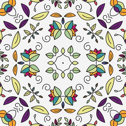 colorful seamless flower symmetry ornate texture pattern background