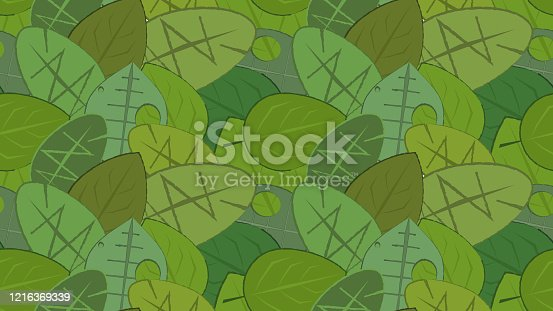 istock Colorful seamless leafy background. 1216369339