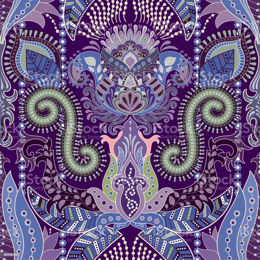 Kleurrijke naadloze Paisley patroon. Decoratieve Indiase sieraad. Decoratieve behang - Royalty-free Illustratie vectorkunst