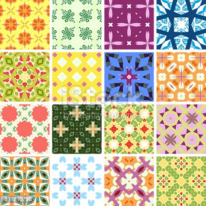 Vector illustration 16 colorful geometric patterns.