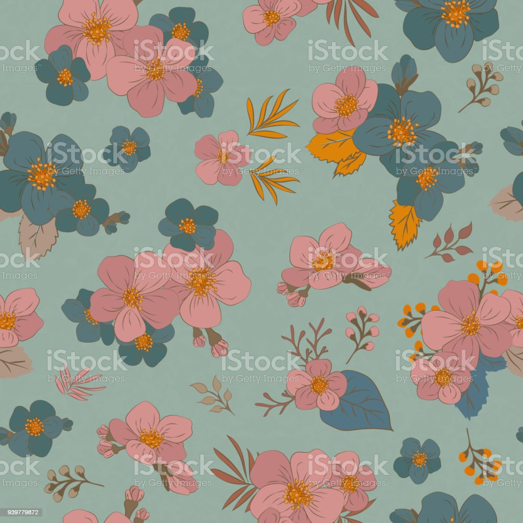 Colorful Seamless Pattern Flowers In Vintage Style Spring Cherry