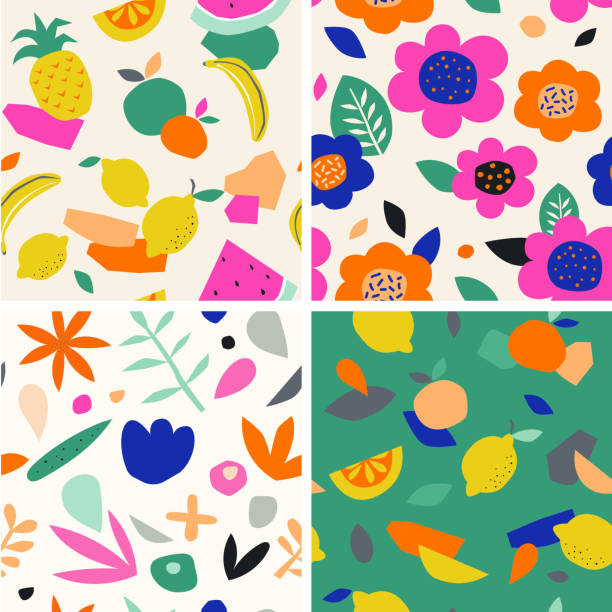 Colorful seamless pattern in paper cutout style. Modern graphic design, hand drawn textures. Ideal for web, card, poster, cover, invitation, brochure Colorful seamless pattern in paper cutout style. Modern graphic design, hand drawn textures. Ideal for web, card, poster, cover, invitation or brochure fruit backgrounds stock illustrations