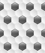 Geometric seamless pattern sport style, made of concave white hexagons with a chamfer, and between the convex shiny black hexagons