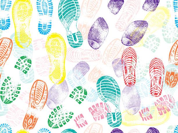 colorful seamless pattern of shoe prints (footprints). vector illustration - ходьба stock illustrations