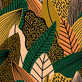 Colorful seamless pattern of tropical exotic leaves. Vector background