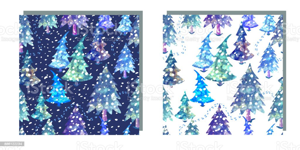 Colorful seamless pattern set with Christmas tree vector art illustration