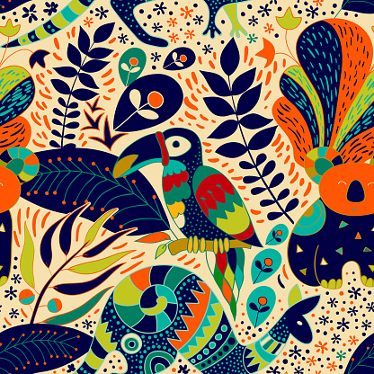 Colorful seamless pattern with australian animals. Decorative nature backdrop. Animals and tropical plants background