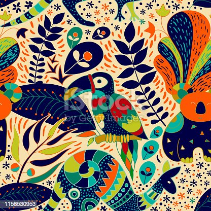 Colorful seamless pattern with australian animals. Decorative nature backdrop. Animals and plants background