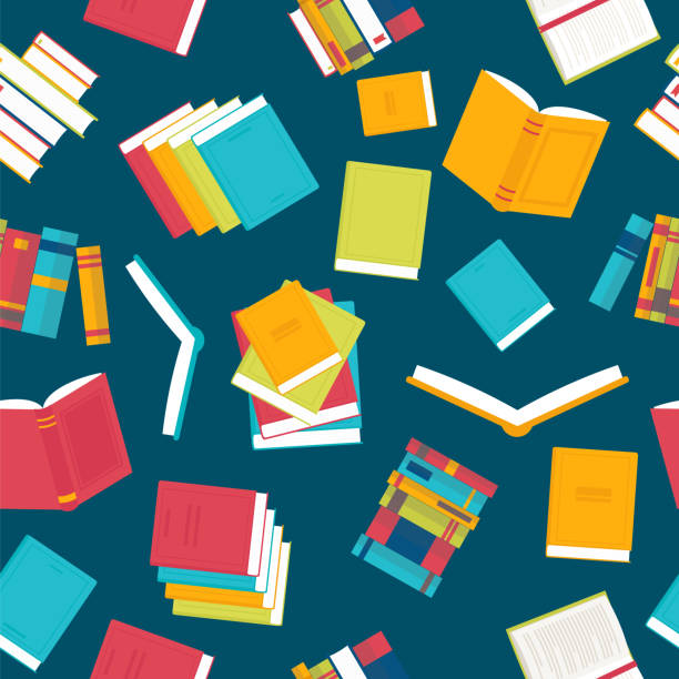 Colorful seamless pattern with books. Library, bookstore. Flat design Colorful seamless pattern with books. Library, bookstore. Flat design. Vector illustration book backgrounds stock illustrations