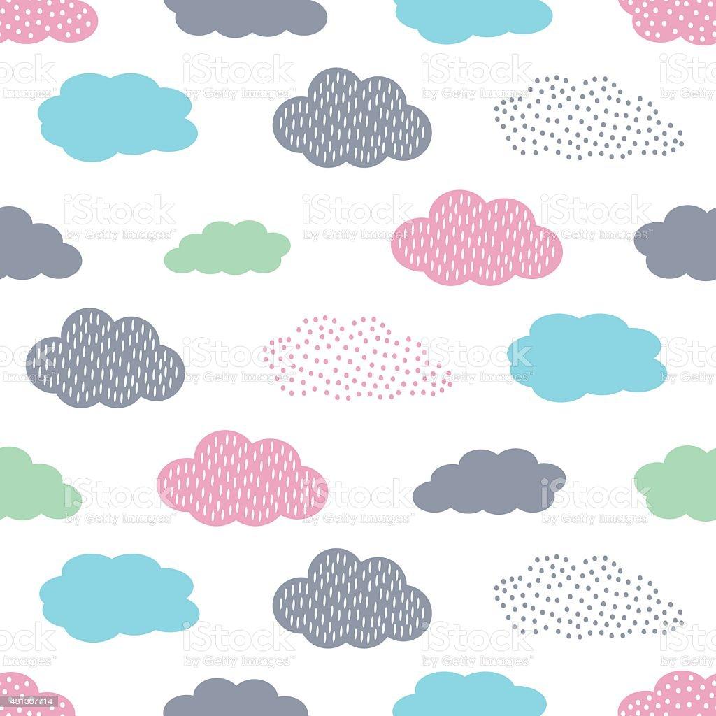 Bunte nahtlose Muster mit Wolken für Kinder an Feiertagen – Vektorgrafik