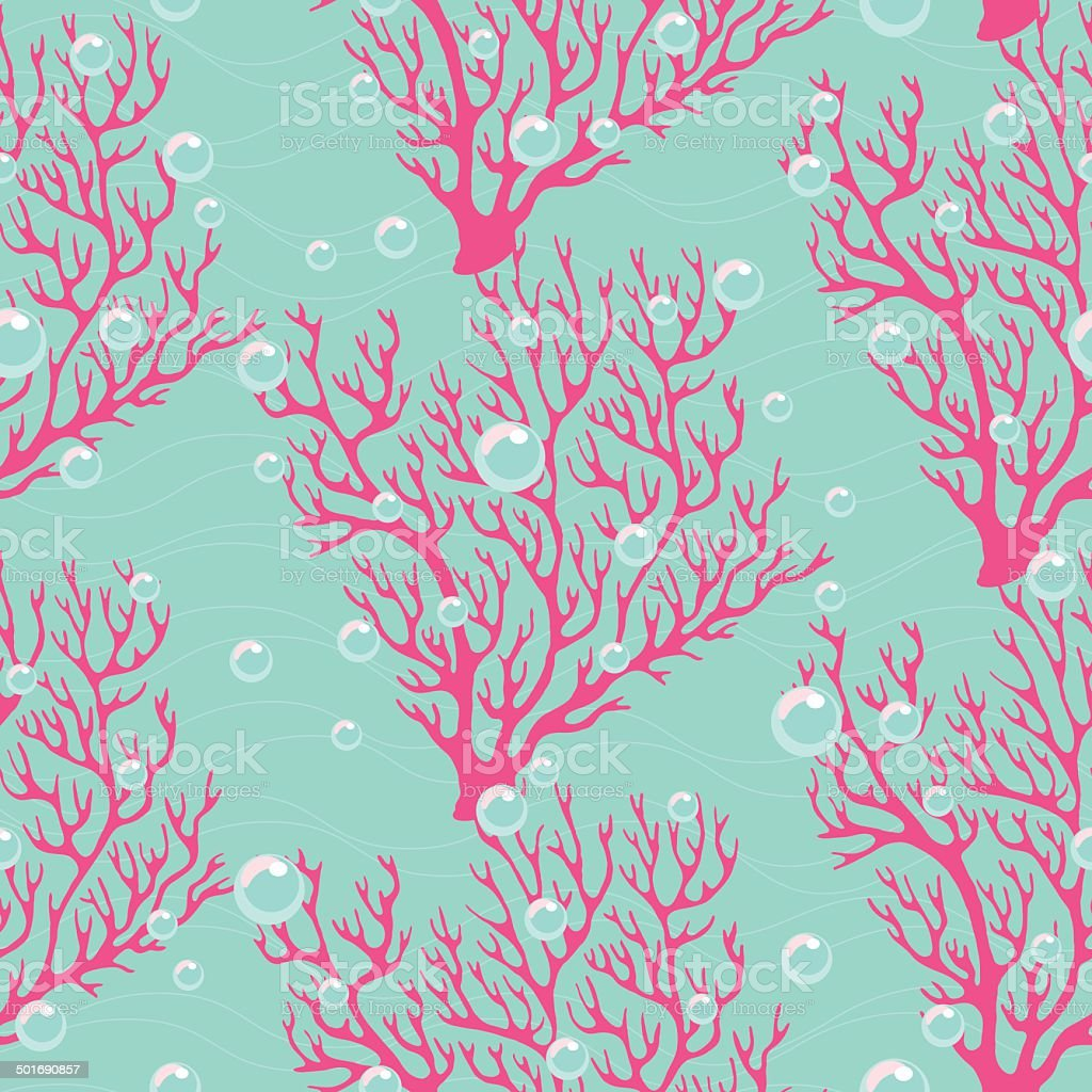 Colorful seamless pattern with corals vector art illustration