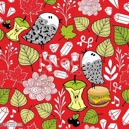 istock Colorful seamless pattern with cute doodle birds and design elements. 1343719050