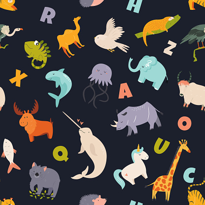 Colorful seamless pattern with cute funny animals and English letters.