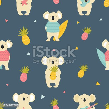 istock Colorful seamless pattern with cute funny koalas 1234767302