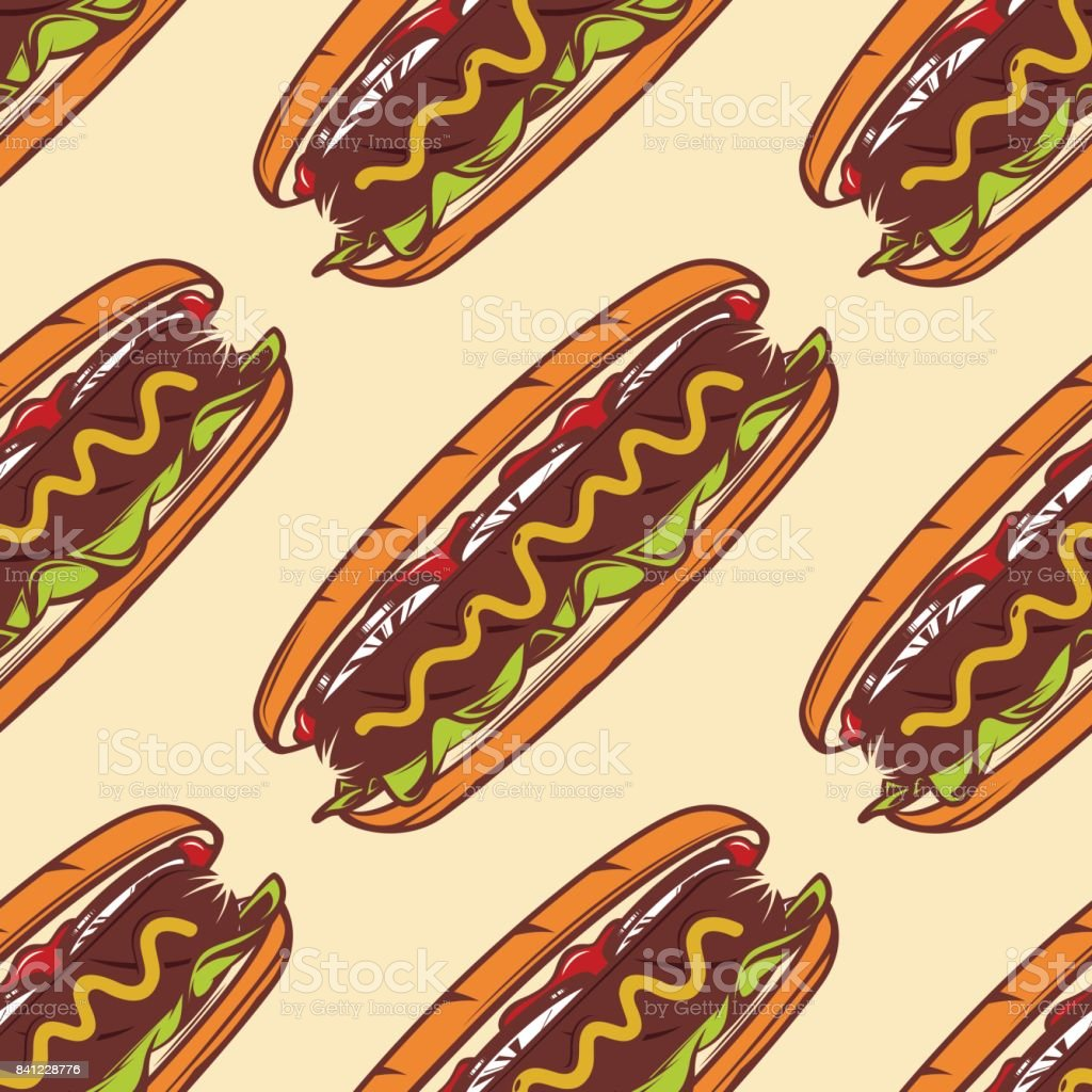 Colorful seamless pattern with hot dog, vector background for fast food vector art illustration