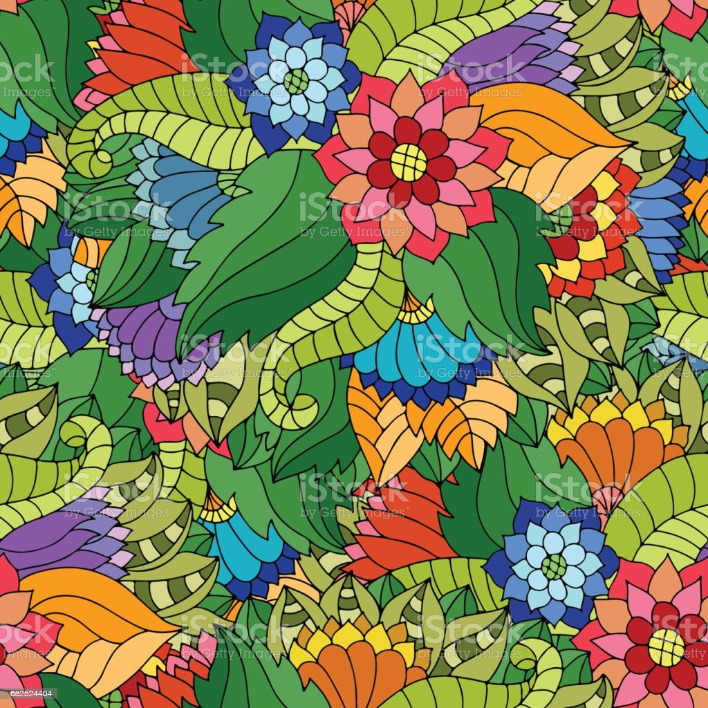 Colorful seamless pattern with wildflowers and leaves in gypsy style.​​vectorkunst illustratie