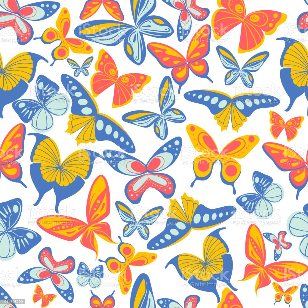 Colorful Seamless Print Pattern With Butterflies Patterned Wallpaper For Scrapbooking Vector Illustration Royalty