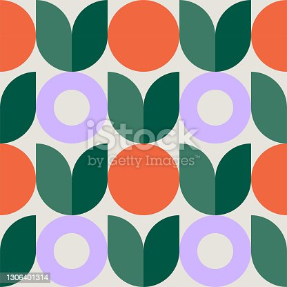 istock Colorful seamless repeat pattern with abstract minimalist geometric style 1306401314