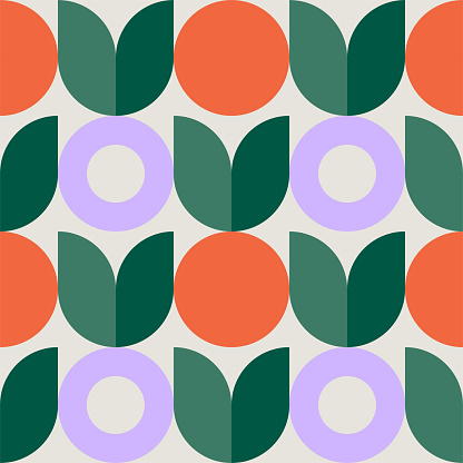 Colorful seamless repeat pattern with abstract minimalist geometric style