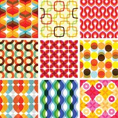 "A collection of colorful seamless retro geometric patterns.  All design are seamless and ""pattern swatches"" included in file, for your convenient use."