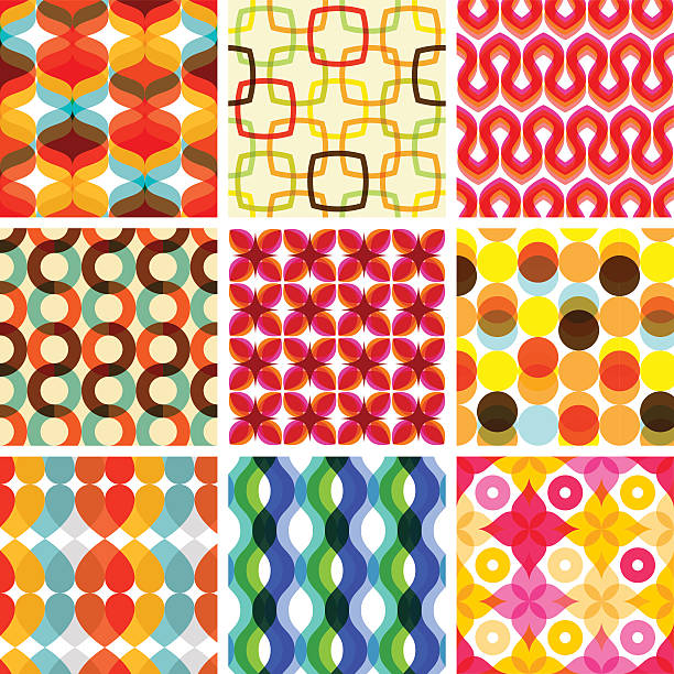 colorful seamless retro geometric pattern - holiday - part of a series stock illustrations