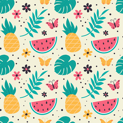 Colorful seamless summer pattern