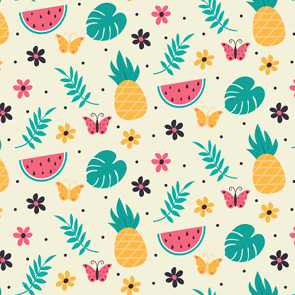 Colorful seamless summer pattern with hand drawn elements