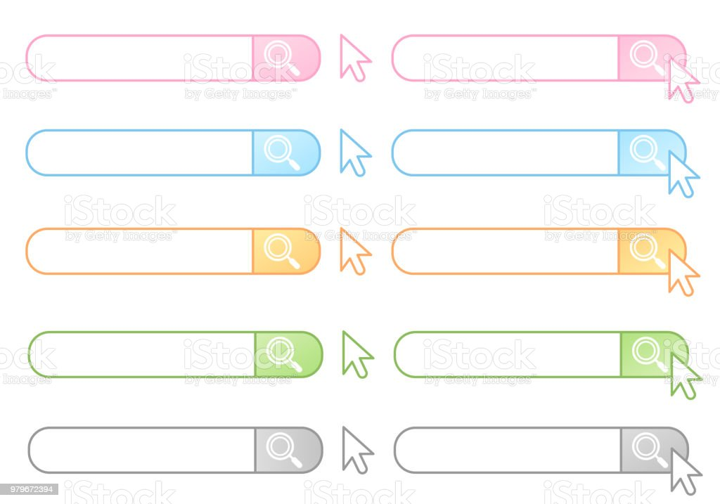 Colorful search form set vector art illustration