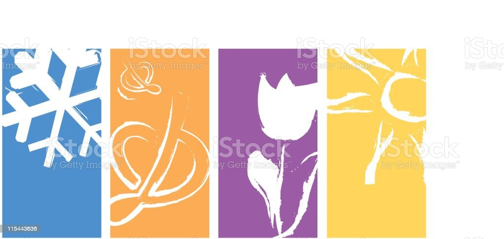 Colorful Seasons - Vector royalty-free colorful seasons vector stock vector art & more images of autumn