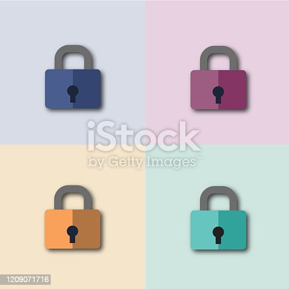 istock Colorful security padlock icon, flat design vector graphic 1209071716
