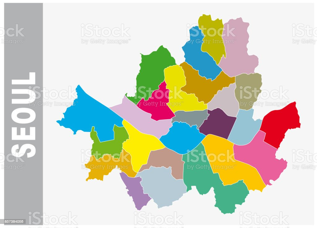 Colorful Seoul Administrative Map Map stock vector art 857384056